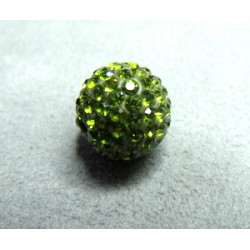 Perle strass pour Shamballa Olivine Résine 10mm (X1)