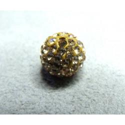 Perle strass pour Shamballa Beige Foncé Résine 12mm (X1)