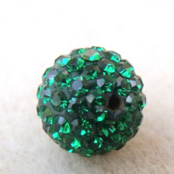 Perle strass pour Shamballa Dark Emeraude Résine 12mm (X1)