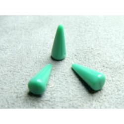 Spikes en Verre de Bohème 13X5mm Opaque Turquoise Green (X10)