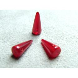 Spikes en Verre de Bohème 13X5mm Coral Red Opal (X10)