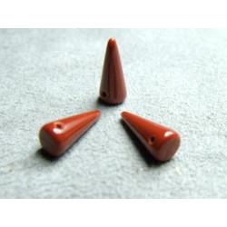 Spikes en Verre de Bohème 13X5mm Opaque Chocolat (X10)