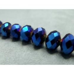 Fils de 72 perles rondes aplaties en Cristal de Chine 10x7mm Metallic Blue (x 1 fil de 72 perles)