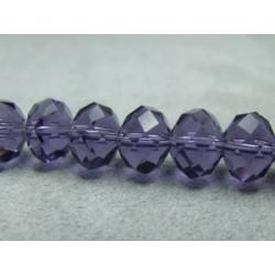 Fils de 65 perles rondes aplaties en Cristal de Chine 10x8 mm Tanzanite (x 1 fil de 65 perles)