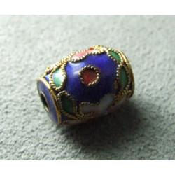 Perle Cloisonnée tonneau 12x10mm Bleu Fonce (x1)